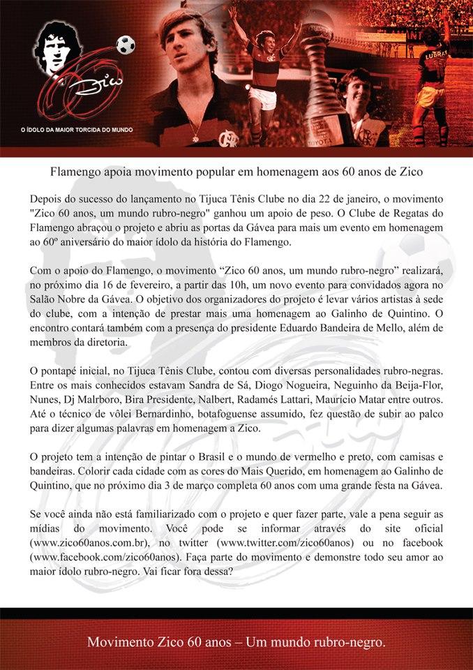 Flamengo apoia movimento  Zico60Anos da torcida com evento na Gávea dia 16 1734e1725dc38